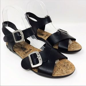 Fly London Black Leather Flat Sandals Size 36